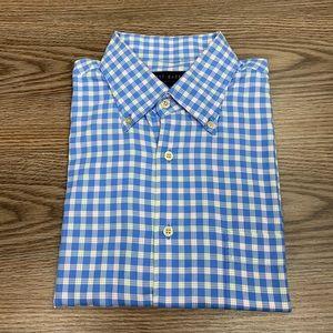 Scott Barber Blue, White & Orange Plaid Shirt L